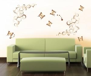drugeliai-tatuiruote-ant-sienos-geltonas